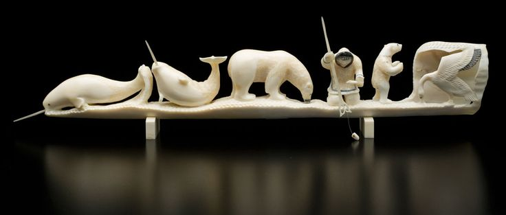 Ice-fishing Carved Tusk by Lew Phillip (Philip), Inuit artist (T60629)