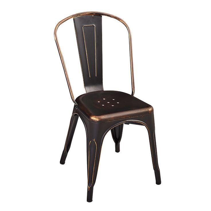 Silla comedor · Dining chair Iron Vintage 84x35,5x36 Color  oscuro. Estilo industrial tipo Tolix #ArmonySpaceBCN