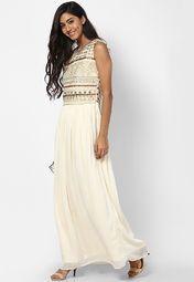 Label Ritu Kumar Off White Colored Embellished Maxi Dress Online Shopping Store