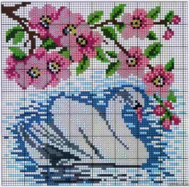 Χειροτεχνήματα: σχέδια με κύκνους για κέντημα / swan cross stitch ...