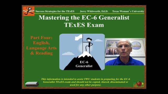 This is the fourth video in an eight video series on Mastering the EC-6 Generalist TExES exam. It was produced to assist students in the teacher preparation program at Texas Woman's University in passing their EC-6 Generalist exam. Part Four begins the discussion of the five content domains of the EC-6 Generalist exam. Part Four addresses English, Language Arts and Reading, the content area with the highest percentage of questions on the exam. I have created a flashcard set reviewing EC-6…
