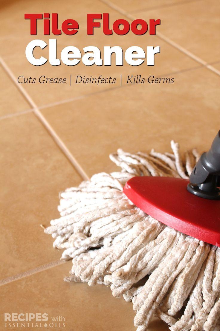 Homemade Tile Floor Cleaner Recpe from RecipeswithEssentialOils.com