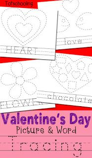 Free Valentine's Day Tracing Sheets