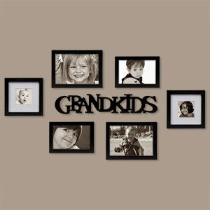 """Grandkids Gallery of Frames - 7 Piece Set  $44.98      Product # SM97566 - Wondering how to display your favourite photos? This collection of frames is here to help! Simply add your pictures, and arrange the frames & theme word on a shelf or hanging on the wall. Holds 2 - 4""""x6"""", 2 - 5""""x7"""" and 2 - 3""""x3"""" photos. Made of MDF with satin black finish. Words measure: 18-1/2""""L x 3""""H"""