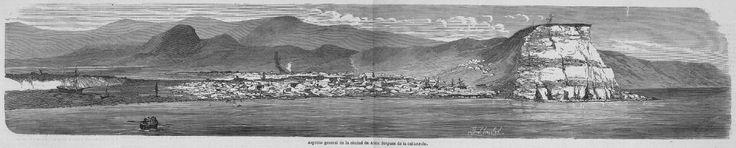 Grabado Arica despues del terremoto y tsunamo 1868. Revista española 2