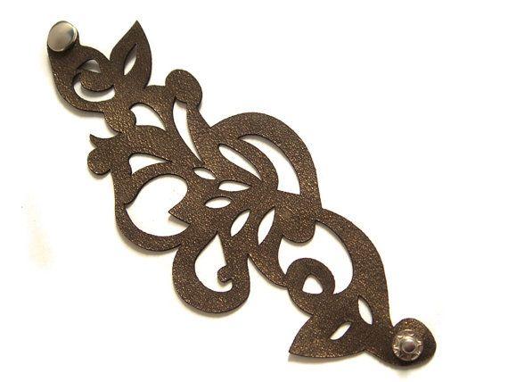 Laser cut filigree leather cuff bracelet in by EmilydeMolly, $34.78