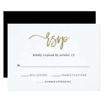 Modern Script | Faux Gold Wedding Response Card - invitations custom unique diy personalize occasions