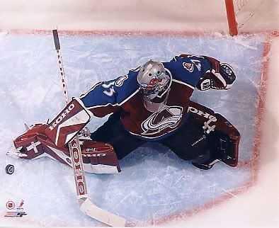 Colorado Avalanche goalie -- Patrick Roy. Best modern hockey goalie yet.