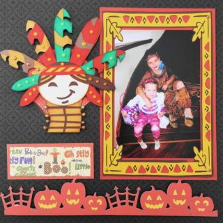 This is a Halloween scrapbook page idea with a Native Indian Princess theme. The pumpkin border image is from Cricut Creepy Critters  cartridge. To learn how to make the layout, go to my blog at Halloween Scrapbook 3 - with Fall & Thanksgiving - Me and My Cricut