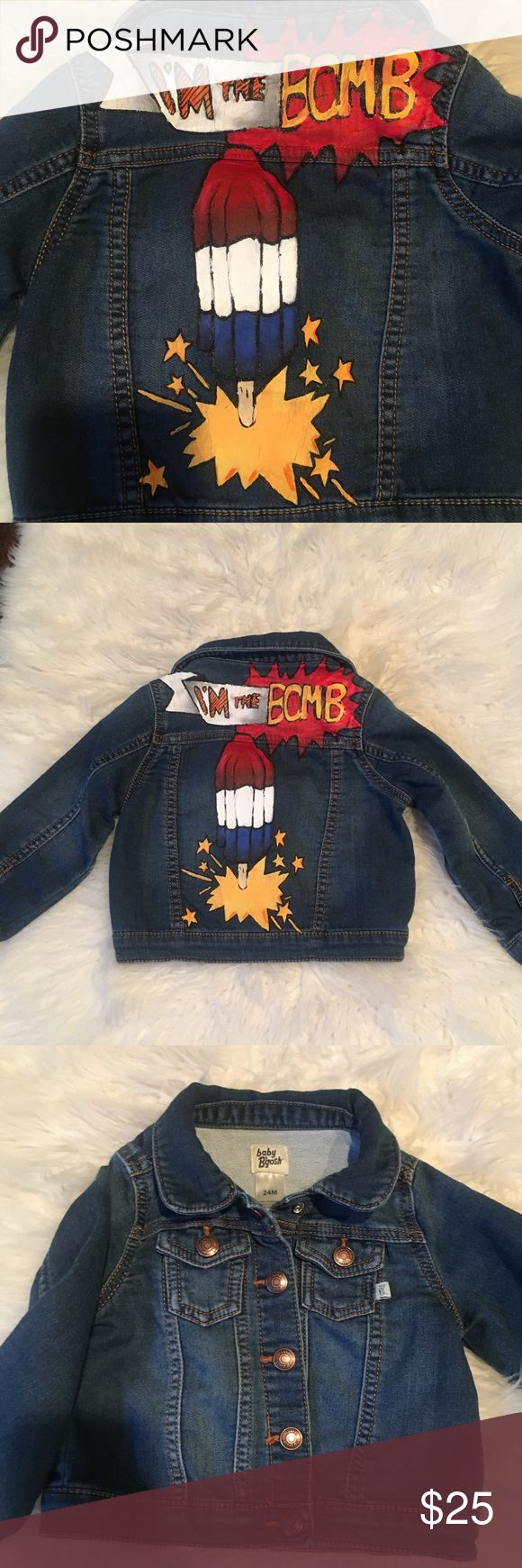 Baby denim jacket Hand painted baby denim jacket size 24 months gently used very good condition Jackets & Coats Jean Jackets