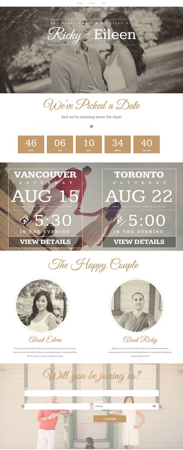 Week 3 - 2/7: This website is so neat to me. I've really never seen a wedding website before. I love how they use different features like the count down until the wedding and how they can also RSVP as well. This look like a fun website to create for somebody for their special day.