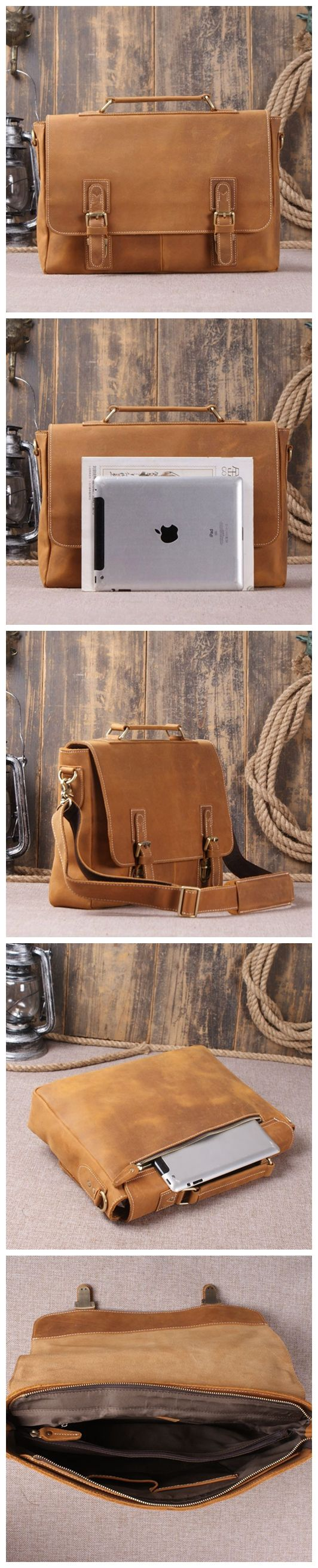 Vintage Retro Look Genuine Leather Laptop Shoulder Bag Leather Messenger Bag Leather Bag Leather Goods For Men Handmade Leather Gifts