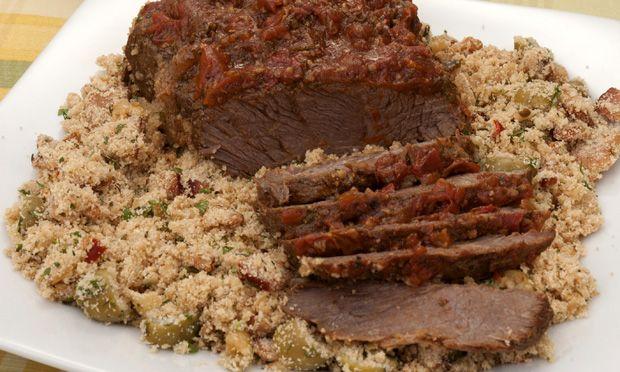 Carne de panela de pressão com farofa especial