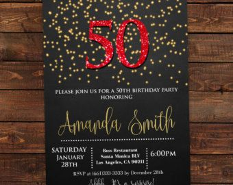 Red and Gold 50th birthday invitations Red by DIYPartyInvitation