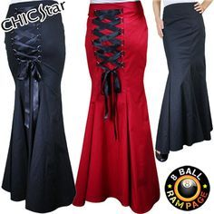 Details about Long Fishtail Corset Skirt Black / Red Gothic Lace Up Rockabilly