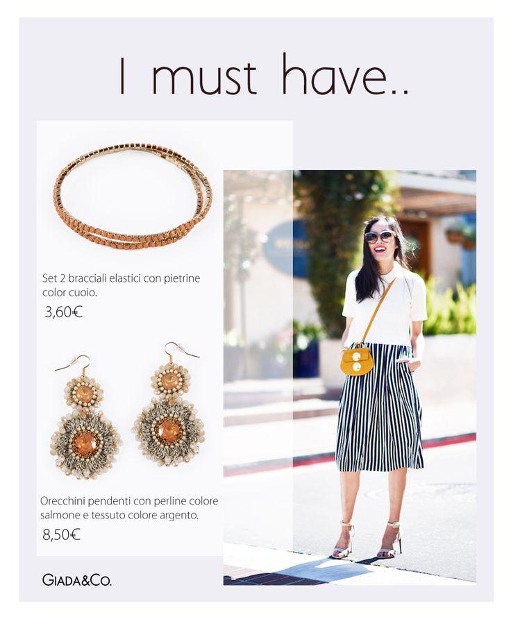 I MUST HAVE.. #MUST #thebestoutfit #earrings #bracelets #pearls #Giada&Co. http://www.giadaandco.com/orecchini/precchini-pendenti-savana http://www.giadaandco.com/bracciali/set-2-bracciali-elastici-con-pietrine