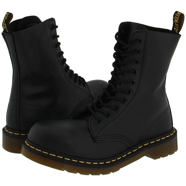 Dr. Martens 1919 Boots ($140) ❤ liked on Polyvore featuring shoes, boots, dr. martens, mid-calf boots, lace up work boots, yellow boots, long boots, steel toe work boots and laced boots