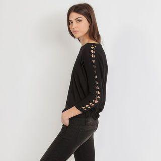 Tee-shirt avec tressage de cuir femme | MAJE