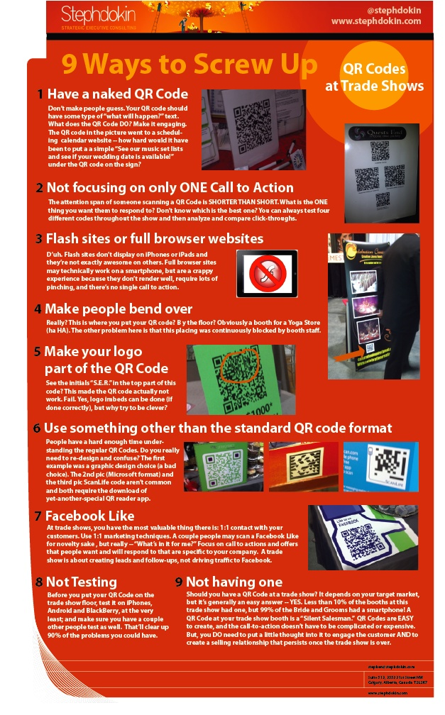 9 Ways to Screw up A QR Code at a Trade Show [InfoGraphic] | Stephdokin