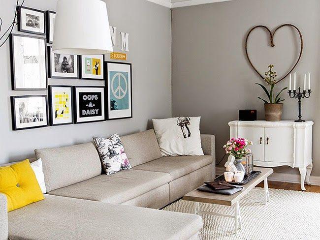 Un piso decorado en gris que har que te olvides del - Decoracion sofa blanco ...
