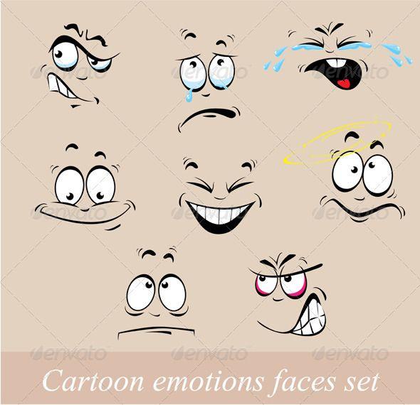 Cartoon Emotions Faces Set #GraphicRiver Cartoon emotions faces set. This image…