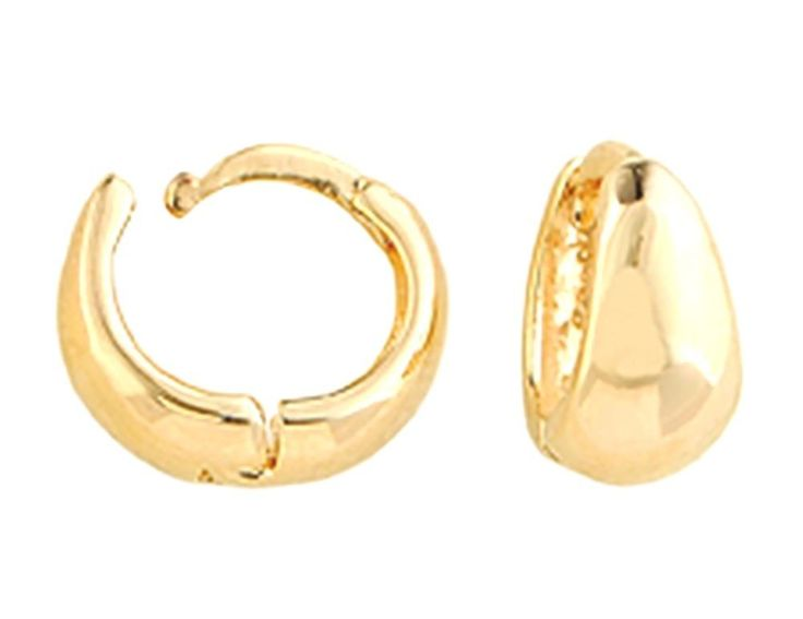 18k Gold Plated Hoop Earrings Huggie Hoops (10mm) Women's Earrings  #QueensJewelry #Hoop
