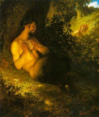Erdőben, fa tövében ülő faun és nimfa.