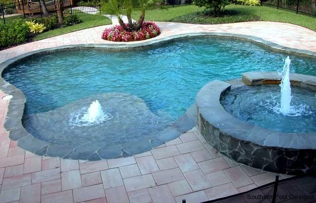 1644 best awesome inground pool designs images on for Pool design with tanning ledge