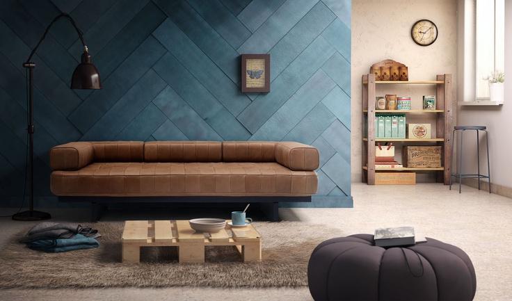 Mi ultimo #rendering para Iroko, integración de sofá (fotografía real de sofá) en un entorno #virtual.
