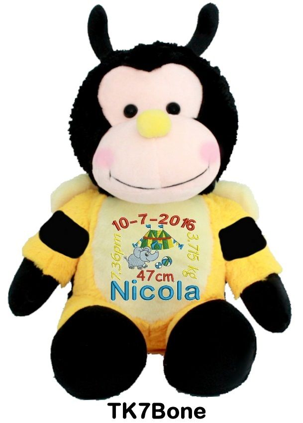 Personalised-Birth-Design-Snugabudz-Bee bright yellow and black and as busy as you are
