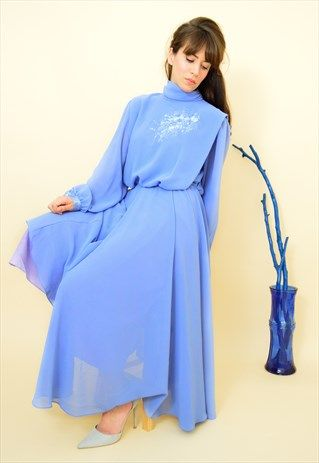 Vintage+80s+powder+blue+embroidered+evening+dress