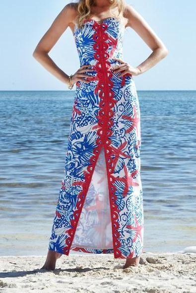 Lilly Pulitzer Angela Strapless Sweetheart Maxi Dress in She She Shells | Perfect for Memorial Day!