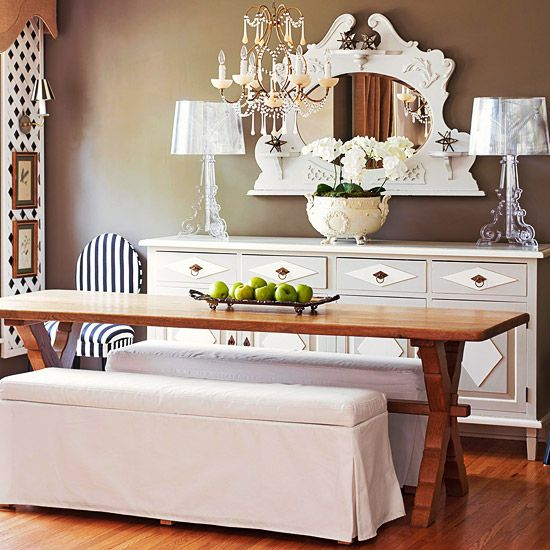 Elegant Country Charm: Dining Rooms, Ideas, Dining Table, Upholstered Bench, Wall Color, Dinning Room, Diningroom, Kitchen