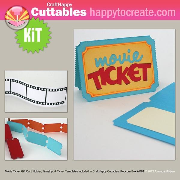Movie Ticket Word Art, Gift Card Holder, Filmstrip and Ticket Strip Templates Die cut kit by Amanda McGee #svg