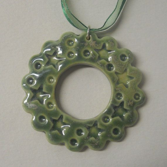 Large Clay Star Wreath Tree Ornament  by celticsouljewelry on Etsy