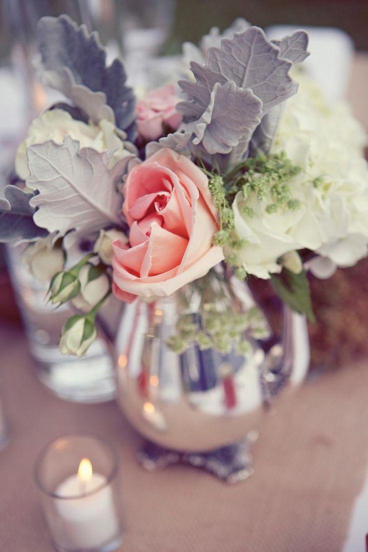 Dusty miller pink roses white hydrangeas vintage tea