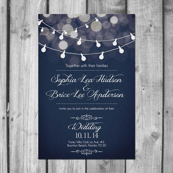 Light Strand Wedding Invitation Set by ChristinaElizabethD on Etsy