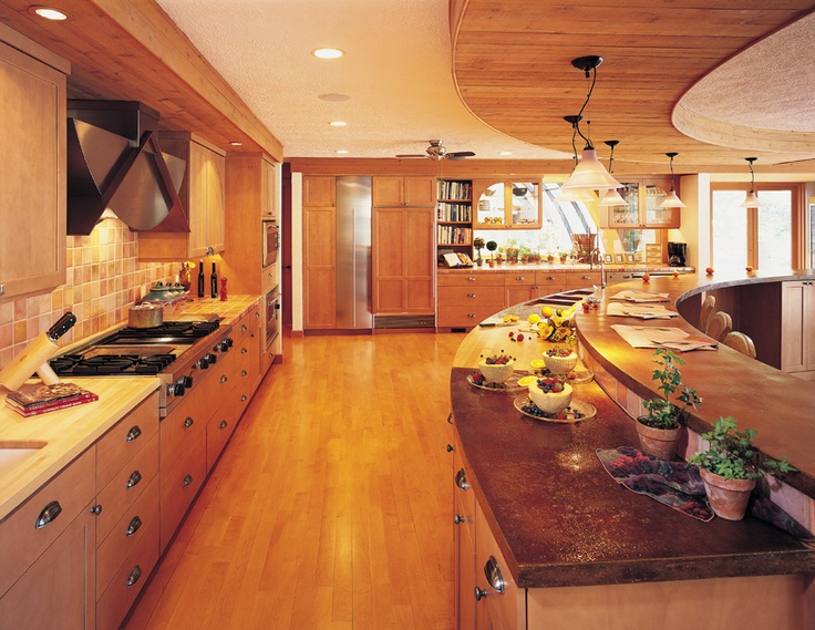 Curved Ceiling Treatment Island Countertop Kitchen Wall