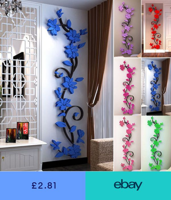 3d Rose Flower Wall Sticker Removable Acrylic Home Decor