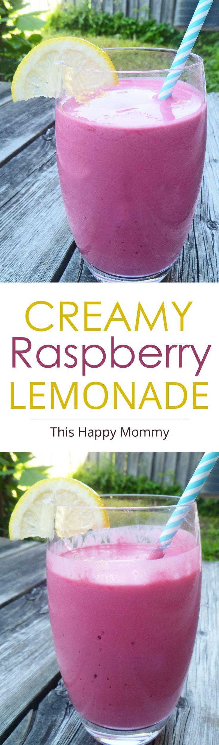 Creamy Raspberry Lemonade -- Tart, sweet, and bursting with creamy raspberry lemon flavour. Creamy Raspberry Lemonade is a perfect summertime drink you can enjoy all season long. | thishappymommy.com