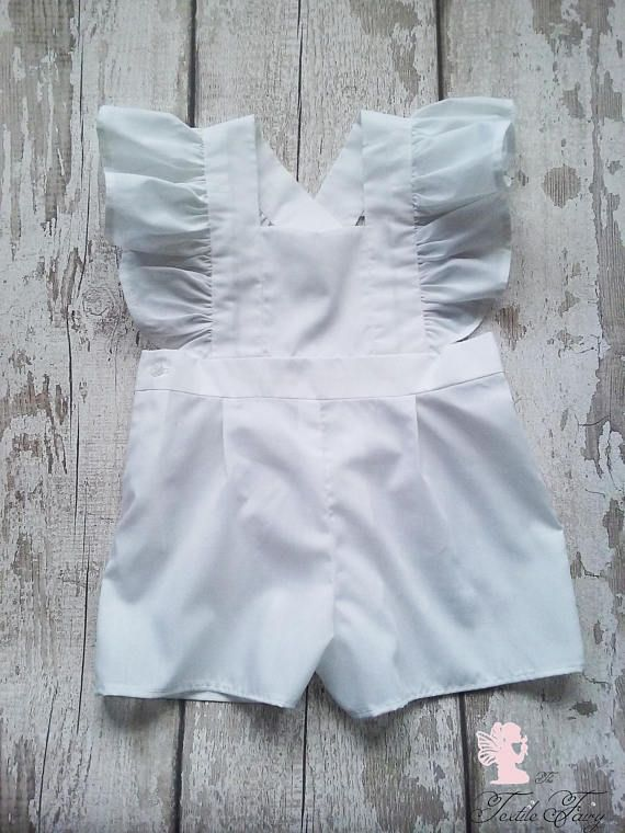 White baby romper, Ruffled romper, Frilled romper, White dungarees, Girls playsuit, 6 months clothes, 1 year clothes, 5 year old clothes