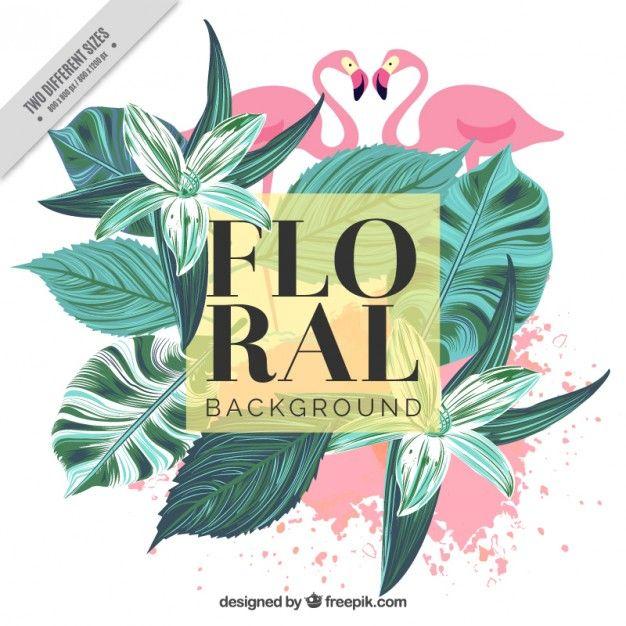 Fundo do vintage de folhas de palmeira pintados à mão e flamingos Vetor grátis