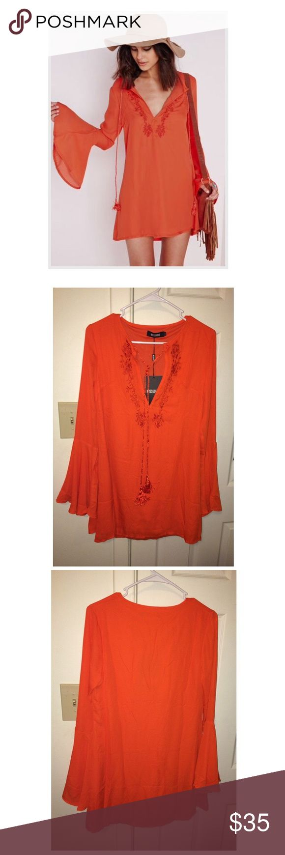 Missguided Bell Sleeve Dress New with tags!! Orange bell sleeve Missguided dress. Never been worn! I love this dress but it is too small on me Missguided Dresses Mini