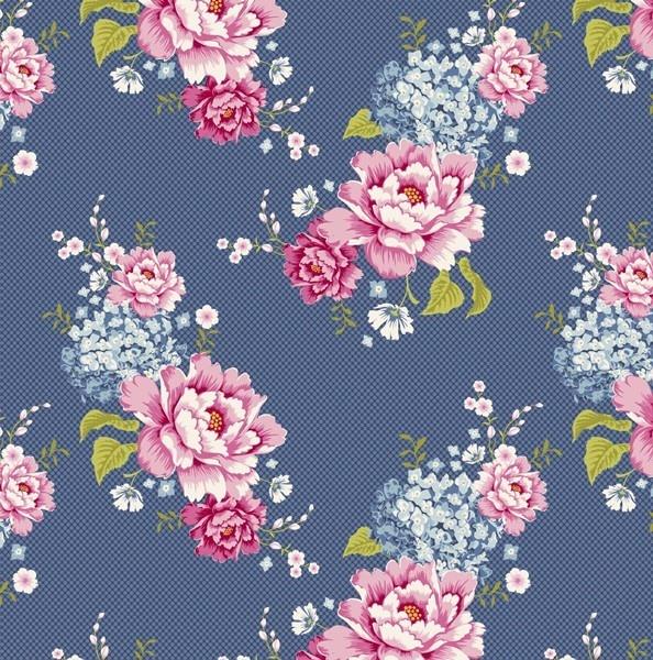 Tilda Fabric Flowerpatch Blue