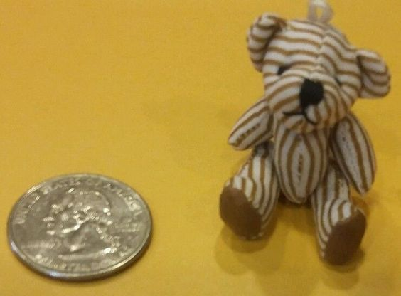 NEW Miniature STRIPED JOINTED BEAR Mini stuffed Figure Diorama Toy Accessory