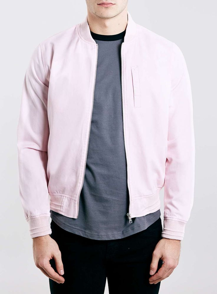 Pink Cotton Bomber Jacket