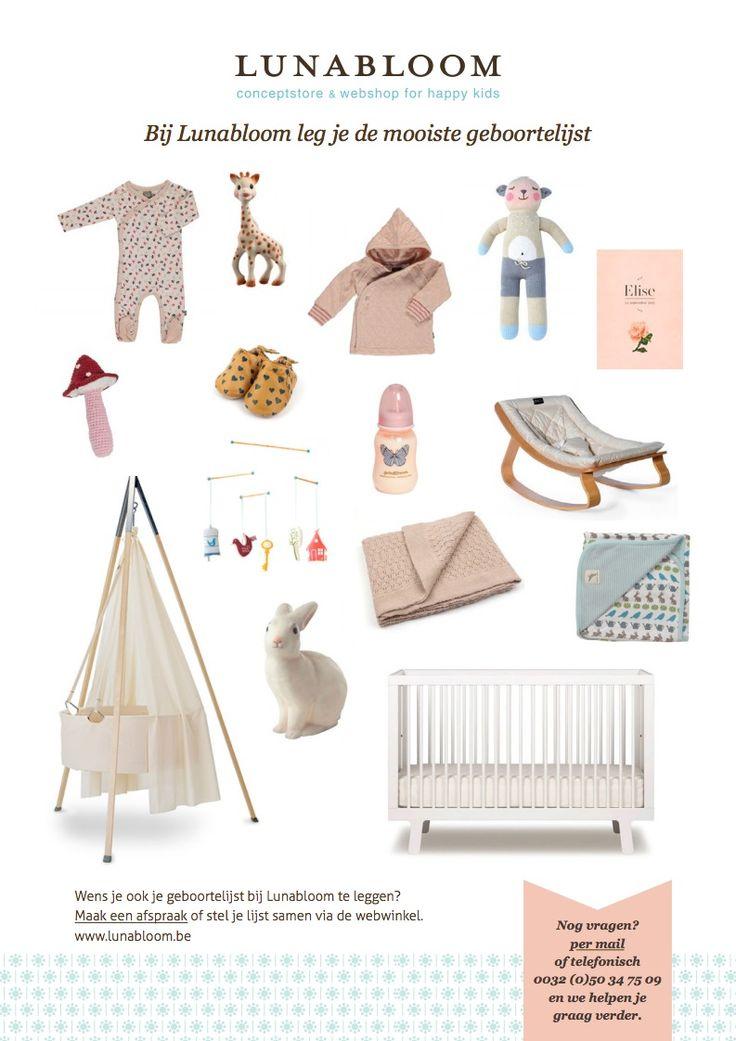 Voorbeeld van een geboortelijstje voor meisjes. Bij Lunabloom maak je de mooiste geboortelijsten.