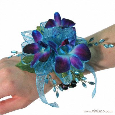 #12COR413 Dream Bracelet Corsage. see viviano.com Flower Shop blue orchids, rhinestones, for prom & homecoming. bridesmaids