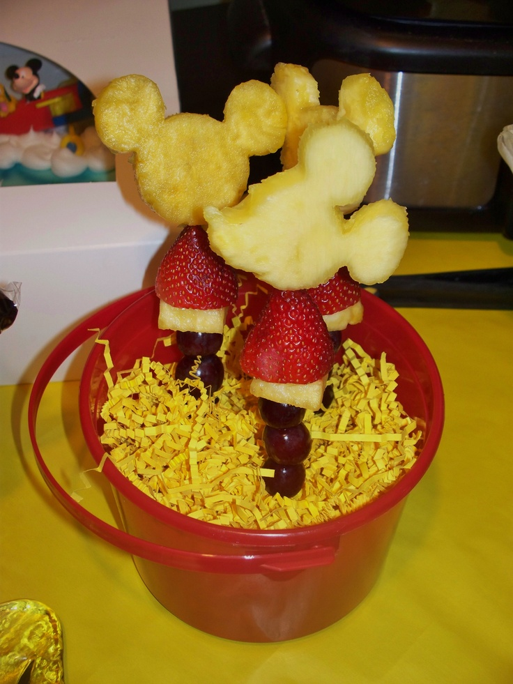 Mickey Mouse Fruit Kabobs Are A Fun And Easy Way To Include Healthy Food On Menu For Kids Birthday Party