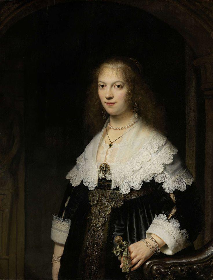Portret van een vrouw, mogelijk Maria Trip, Rembrandt Harmensz. van Rijn, 1639 #collectievissen #waaier